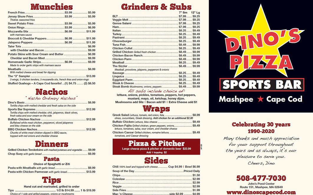 Dino's Bar Menu
