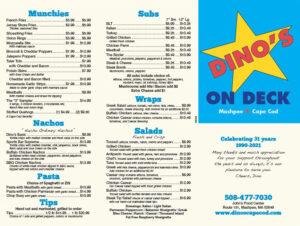 Dino's on Deck Menu